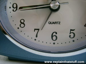 Closeup of quartz alarm clockface by Acctim