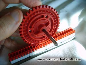Rack and pinion gear made with an erector set
