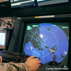 Military radar screen at an air base