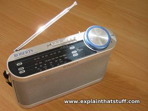 Gray plastic Hitachi transistor radio