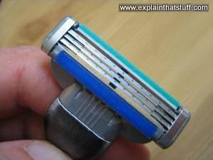 Lubricating safety strip on a Gillette razor