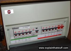 A modern fusebox with RCD trip switches