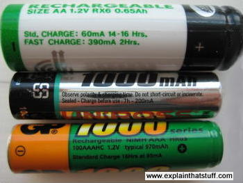Photo showing the charging instructions and times written on the side of three rechargeable batteries