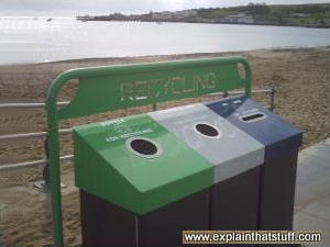 Seaside recycling bins