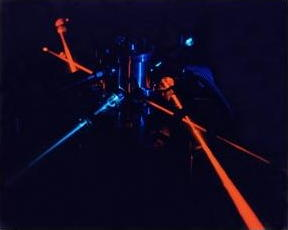 Red and blue laser beams in a science experiment
