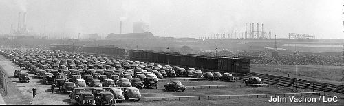 Outside view of the Ford River Rouge Factory by John Vachon.