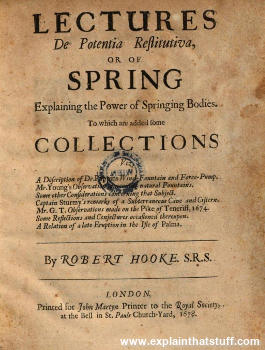 Front cover of Robert Hooke's book Lectures de Potentia Restitutiva on the theory of springs.