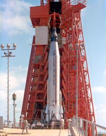 Photo of an early Atlas rocket in 1963 by NASA
