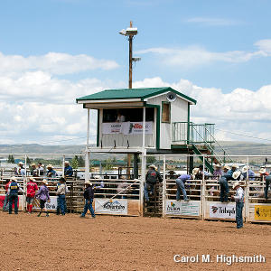 The radio announcer's booth at a rodeo
