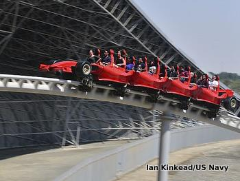 A rollercoaster shaped like a Ferrari race car in Dubai.