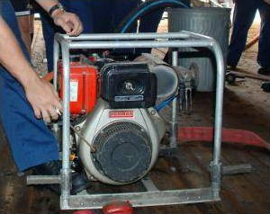 Closeup of a rotary pump showing the impeller