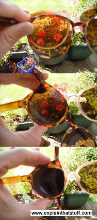 Rotating two pairs of polarizing sunglasses (or two polarizing filters), you can block out light waves.