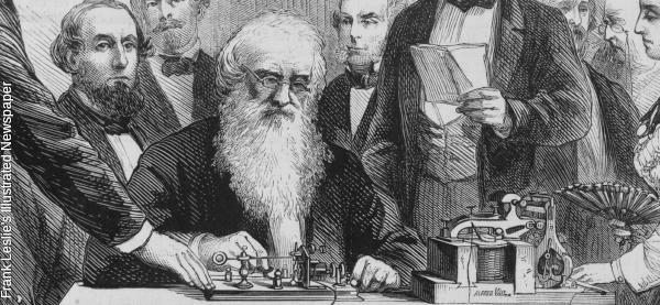 Samuel Morse demonstrates his telegraph. Illustration from Frank Leslie's illustrated newspaper, 1871