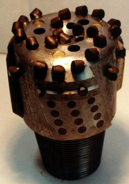 A diamond-studded drill bit.