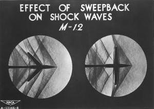 Schlieren photo showing shock waves produced by normal and swept back wings at Mach1.2 flying speed.