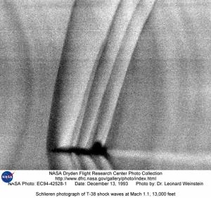 Schlieren photo showing shock waves produced by a real airplane.