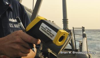 Measuring the temperature of the ocean from a ship using an infrared thermometer