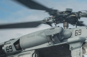 One of the twin turboshaft engines on a Seahawk helicopter.