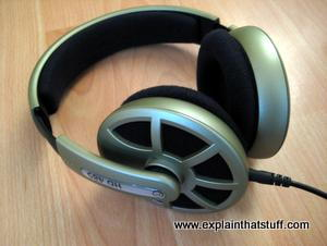Open-backed Sennheiser HD485 headphones