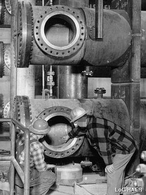 Shell and tube heat exchanger from Idaho National Engineering Laboratory, Test Reactor photographed in 1956.