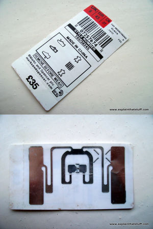 An RFID tag concealed in a price and size label from a pair of shoes