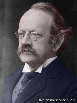 Sir J J Thomson, discoverer of the electron at Cambridge University, color-tinted B&W photo, 1920-1925.
