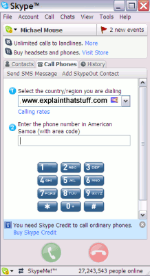 The Skype desktop panel, showing a traditional phone keypad.