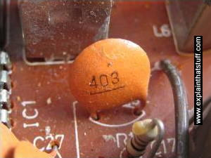 Small mica capacitor in a transistor radio.