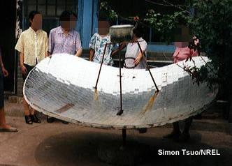Chinese people boil water with a kettle on a parabolic-reflector type of solar cooker.