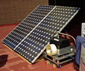 Using a flywheel to store energy produced by a solar panel