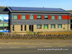 Photovoltaic solar panels covering the roof of Swanage School in Dorset England