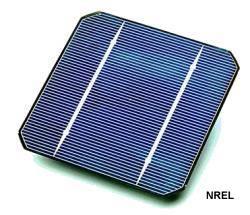 Closeup of a single solar cell