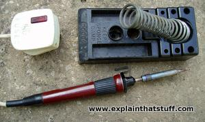 A typical Antex soldering iron with its safety stand and electrical plug