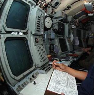 Sonar apparatus in a submarine