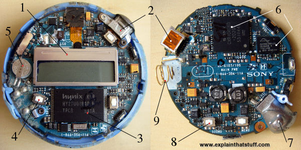 Component parts inside a Sony Network Walkman MP3 player