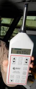 A Quest sound pressure level meter (decibel meter).