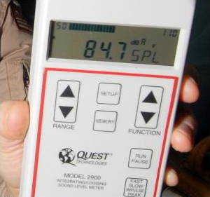 Close-up of the LCD display on a Quest sound pressure level meter (decibel meter).