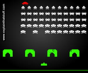 Screenshot of an early pixelated space invaders arcade game.