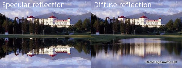 Specular reflection in a mirror compared to diffuse reflection in a lake.