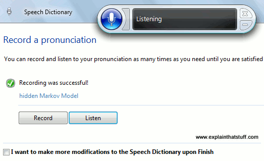 Training a speech recognition program to recognize the words 'hidden Markov model.'