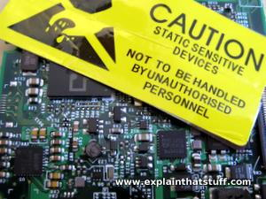 Static warning label on a printed circuit board