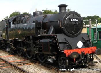 Restored black steam tank engine locomotive 80104 in Swanage