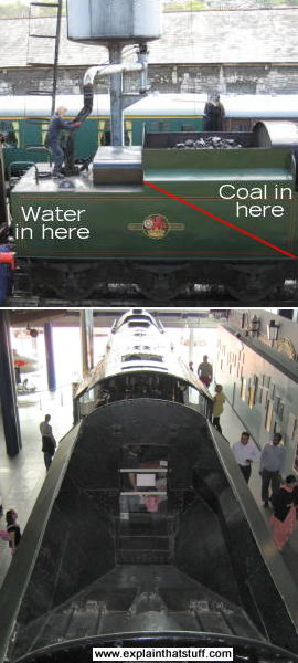 Two views of a steam engine tender seen (above) from the side and (below) looking down from behind