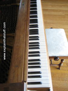 A Steinway grand piano: closeup of the keyboard and stool