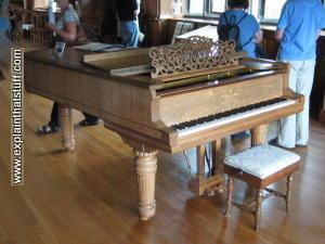 A Steinway grand piano at Lanhydrock, Cornwall