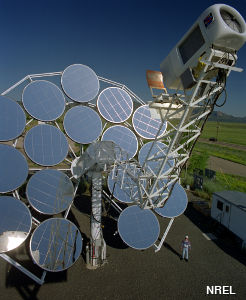 Solar collector mirrors powering a Stirling heat engine