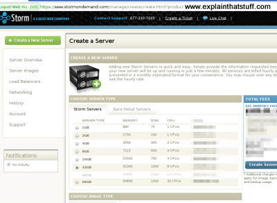 Screen shot of Storm on Demand cloud server dashboard