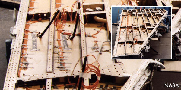 Using strain gauges on a prototype airplane wing.