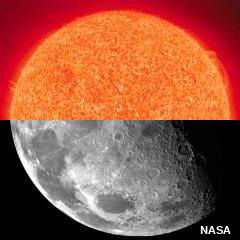 Red, relatively closeup photo of the sun superimposed on a black and white photo of the Moon underneath.