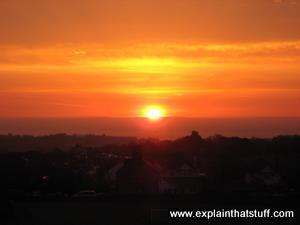 Dark red sunrise over Dorset, England.